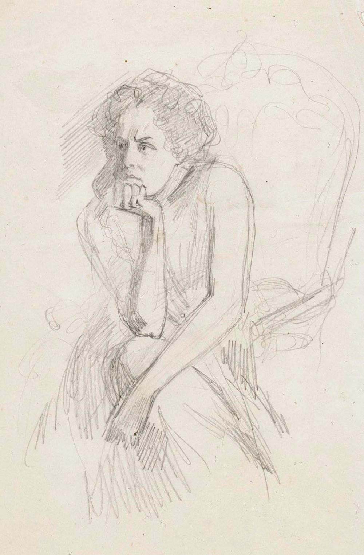 Käsiinsä nojautuva istuva nainen