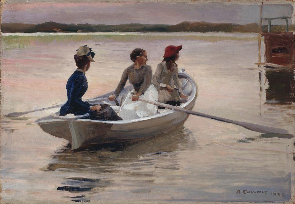 Tyttöjä veneessä (Kesä saaristossa)