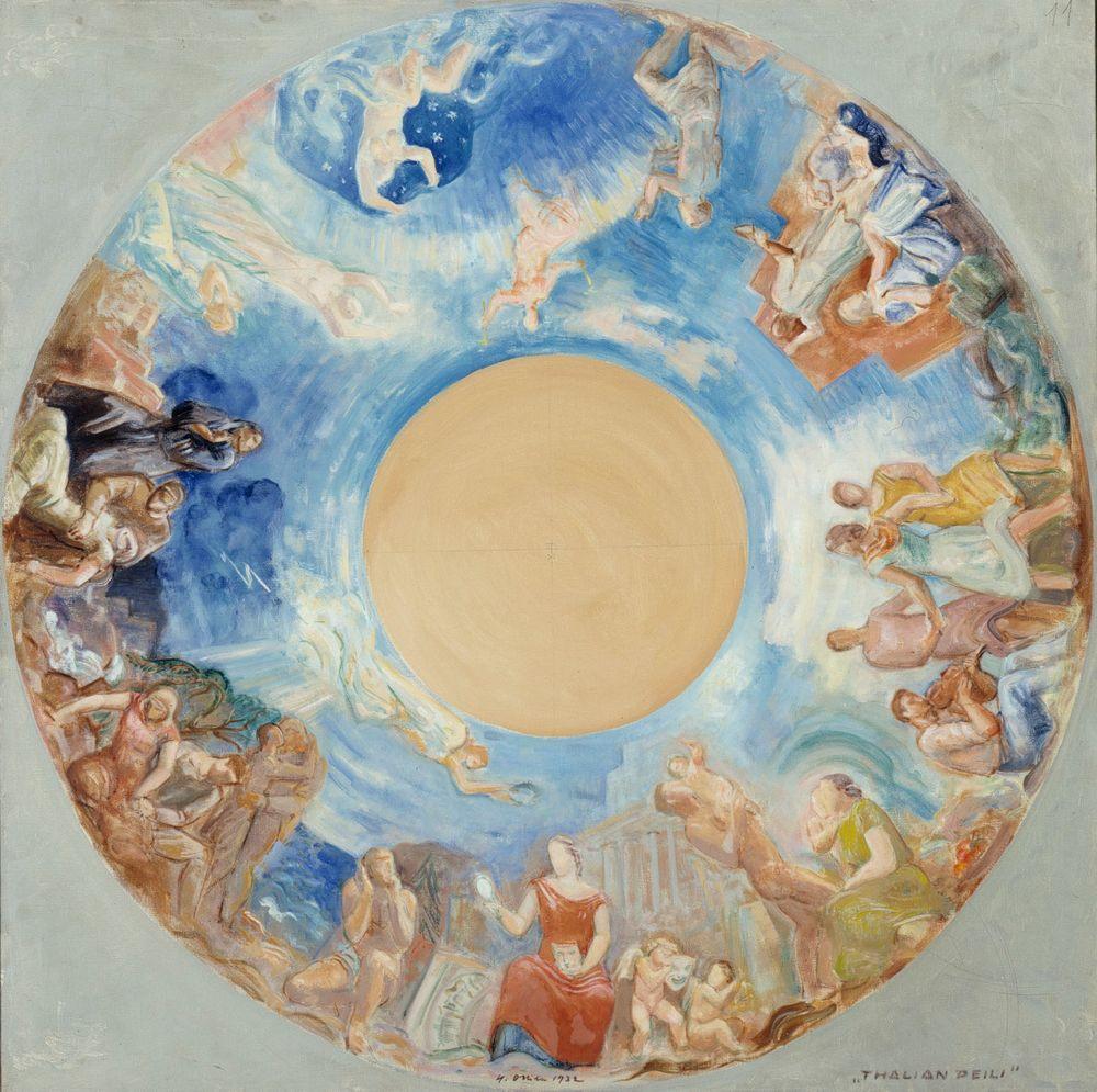 Thalian peili, kokonaisluonnos Kansallisteatterin kattomaalausta varten
