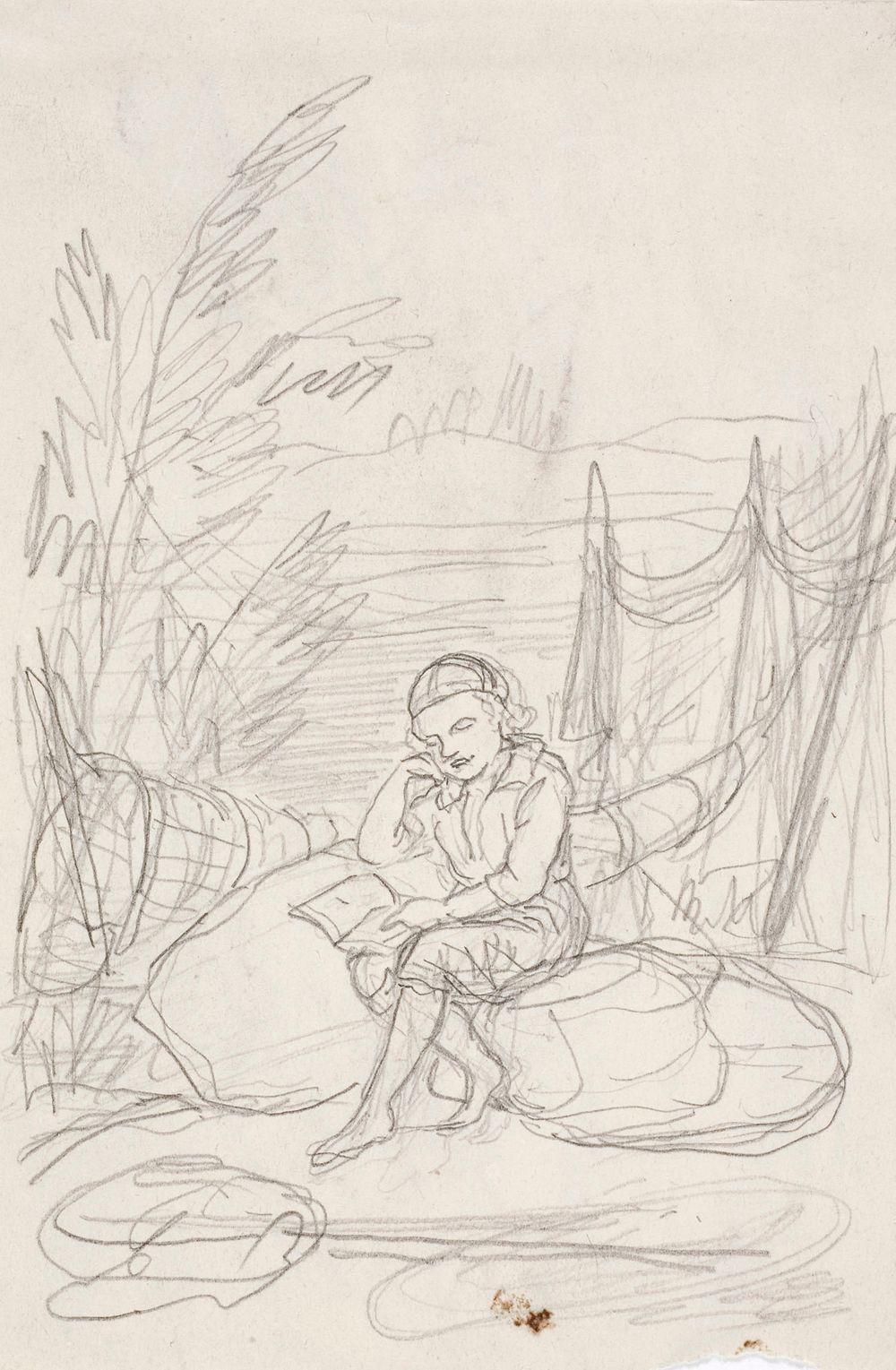 Istuva poika lukemassa