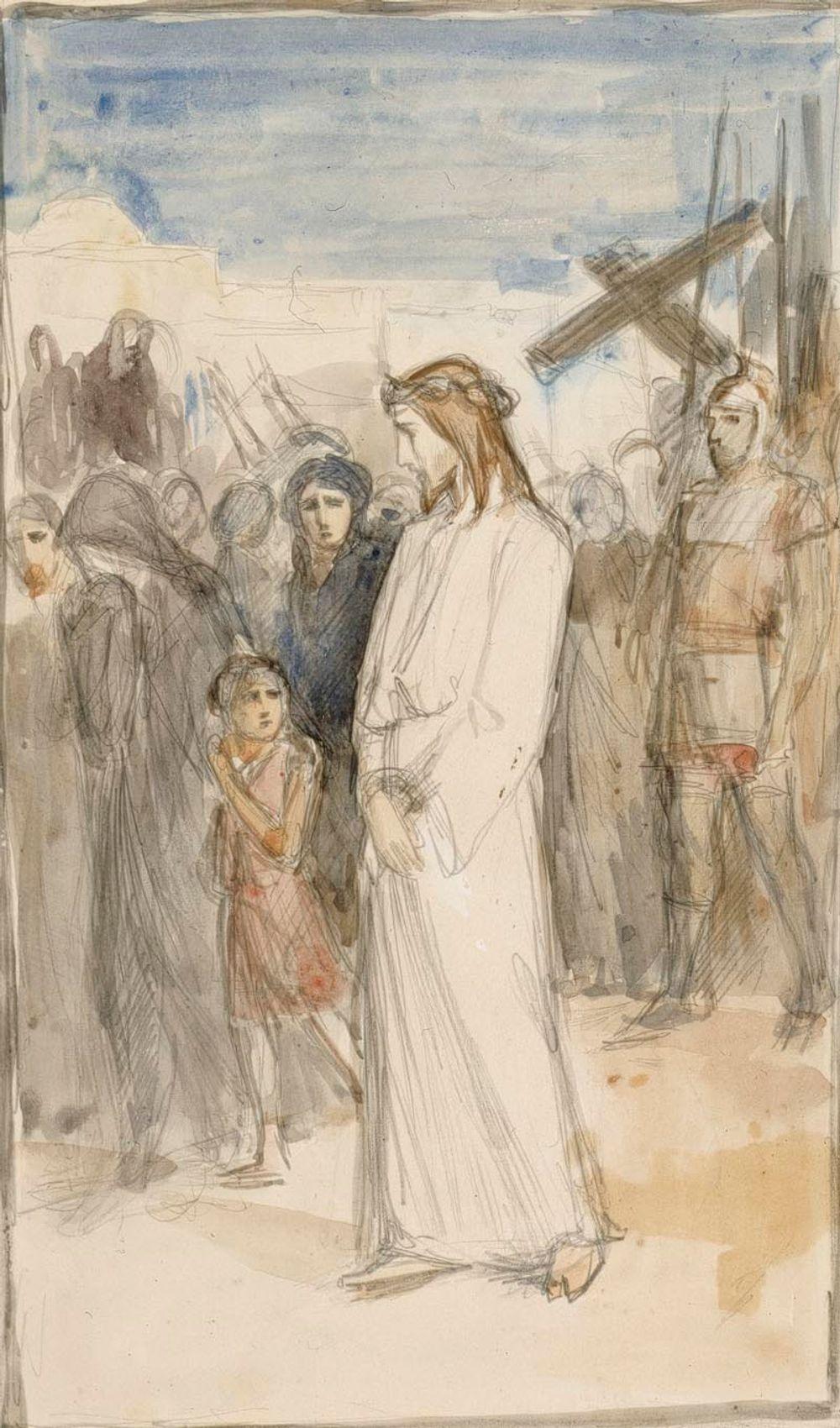 Kristusta viedään Golgatalle   (ehdotus Vaasan kirkon alttaritauluksi?)