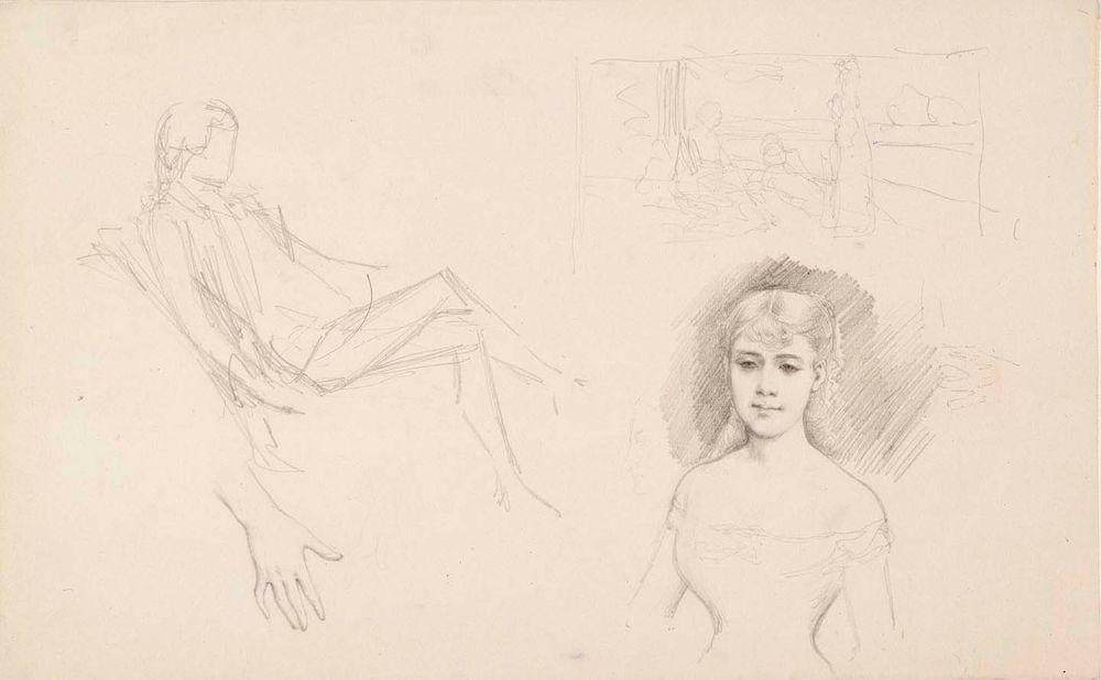 Istuva mies, luonnos, nuoren naisen muotokuva ja käsi