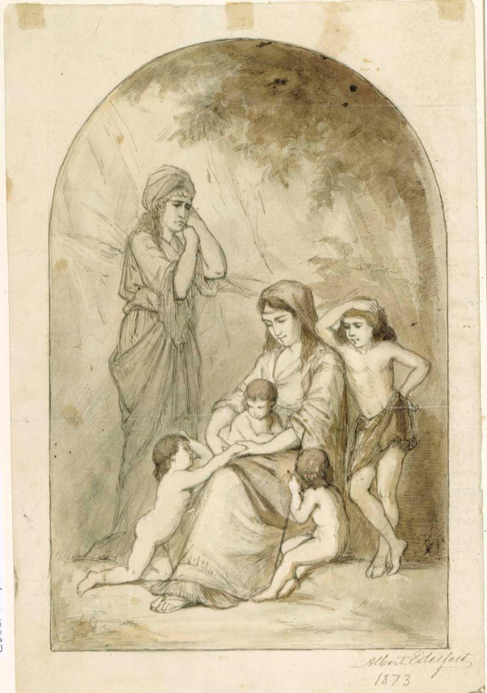 Raamatullinen aihe, kaksi naista ja neljä lasta