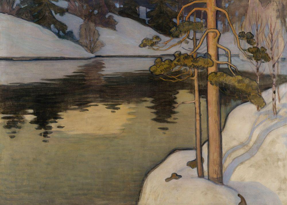 Järvi lumisine rantoineen