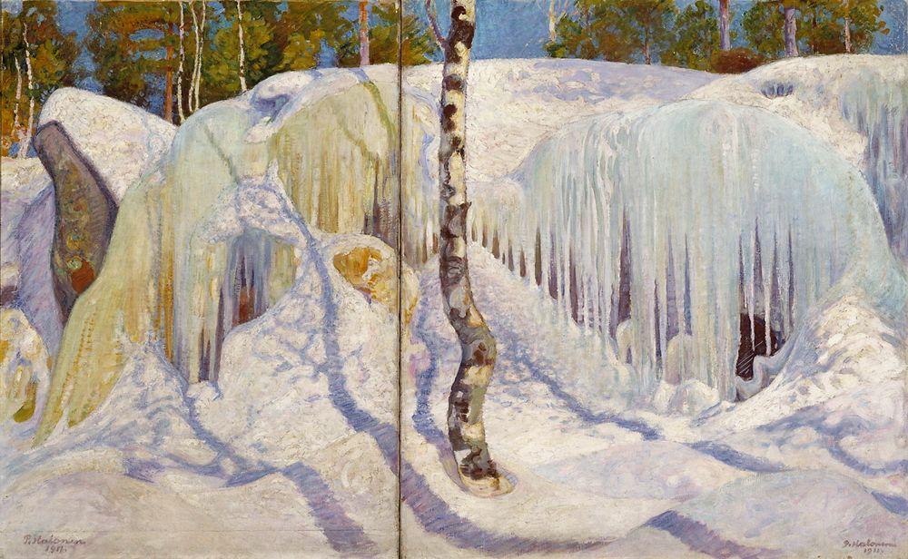 Jään ja lumen peittämä kallio