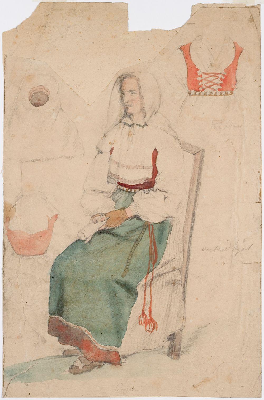 Kädet sylissä istuva nainen. Sivuilla harjoitelmat kolmesta vaatekappaleesta.