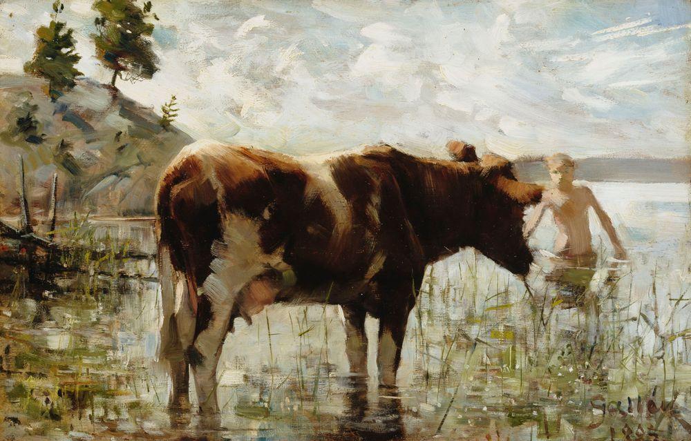 Lehmä ja poika