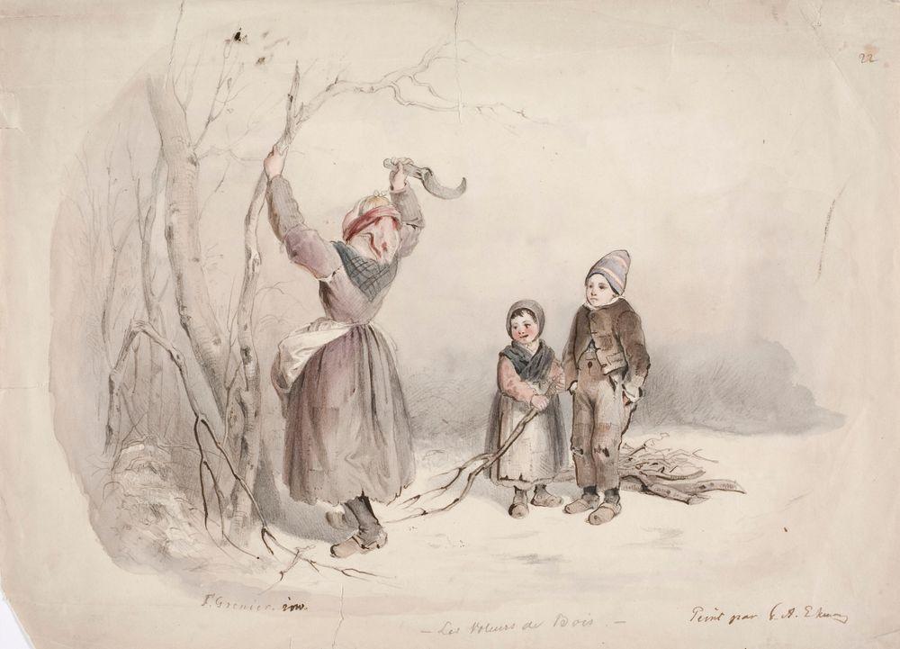 Metsästä puita varastavia lapsia