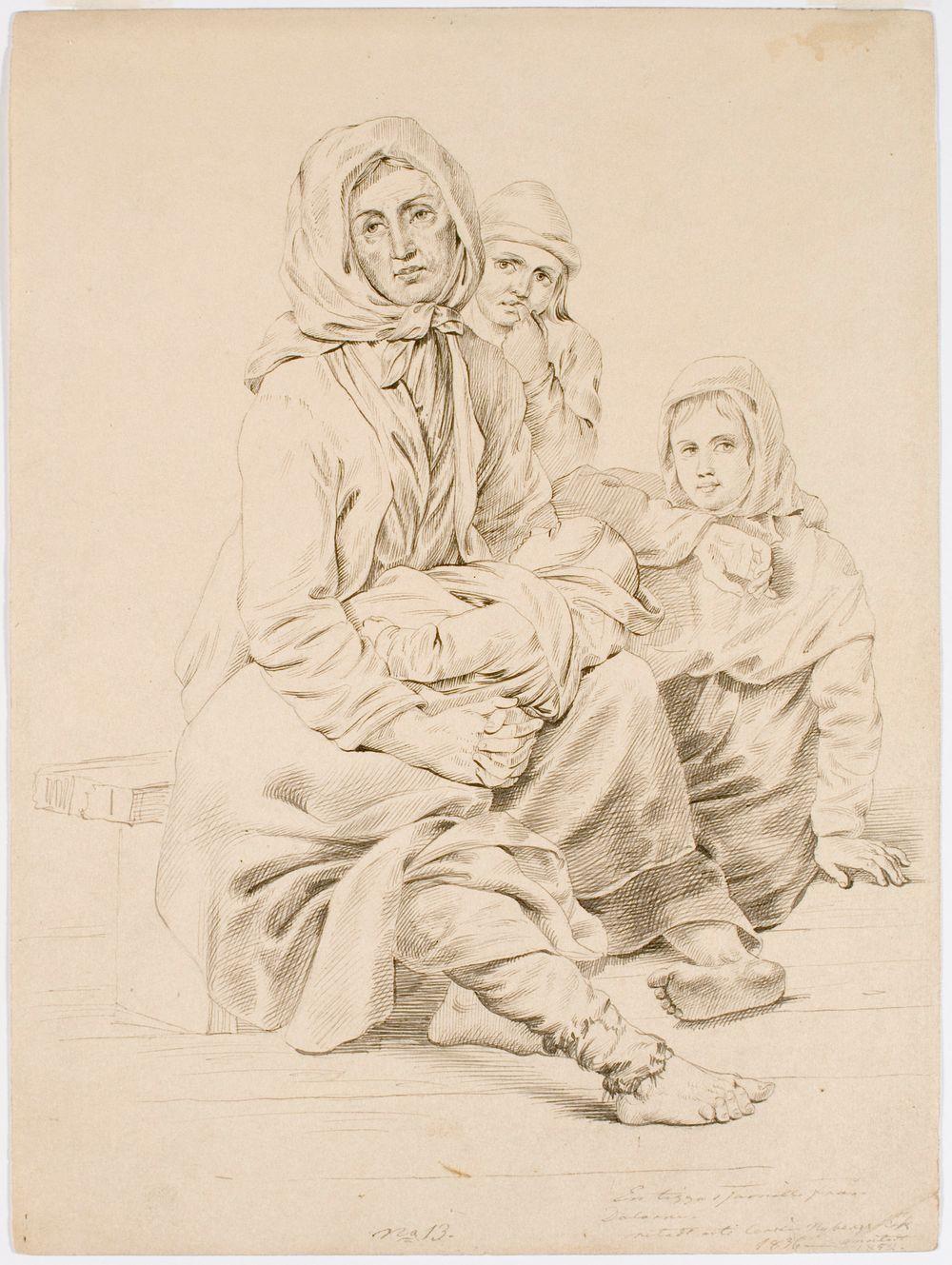 Taalalainen kerjäläisperhe, nainen kolmen lapsen kanssa