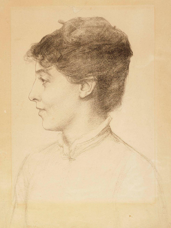 Taiteilijan vaimon Ellan Edelfeltin muotokuva, profiili
