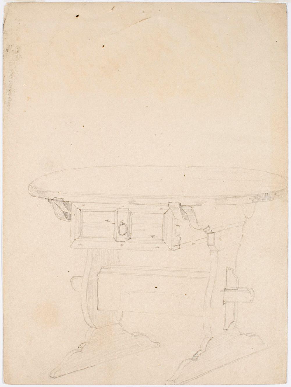 Pyöreä ristijalkainen pöytä