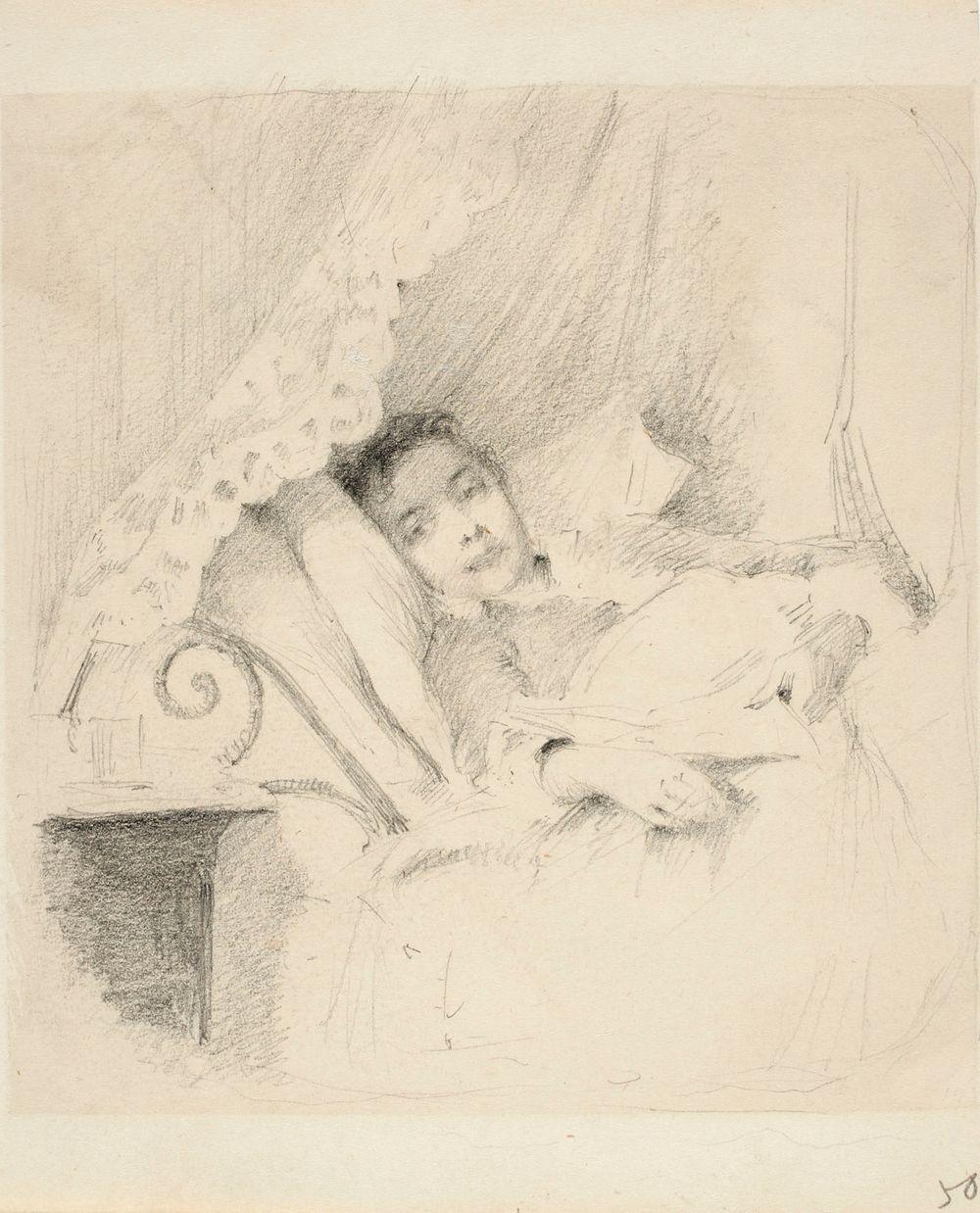 Vuoteessa lepäävä nainen, taiteilijan vaimo