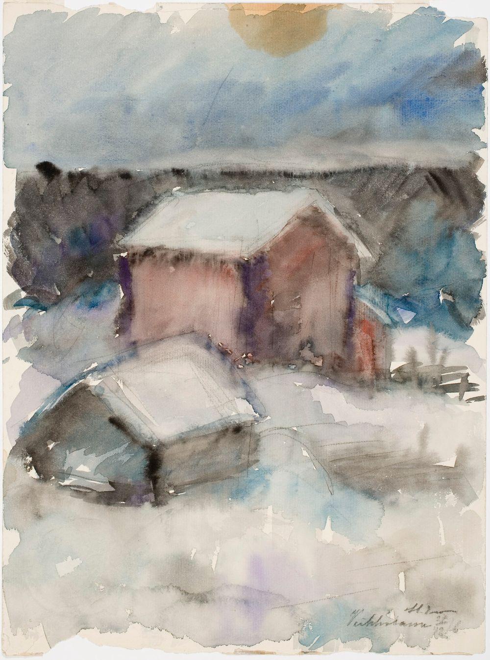 Talvikuva, rakennuksia lumessa