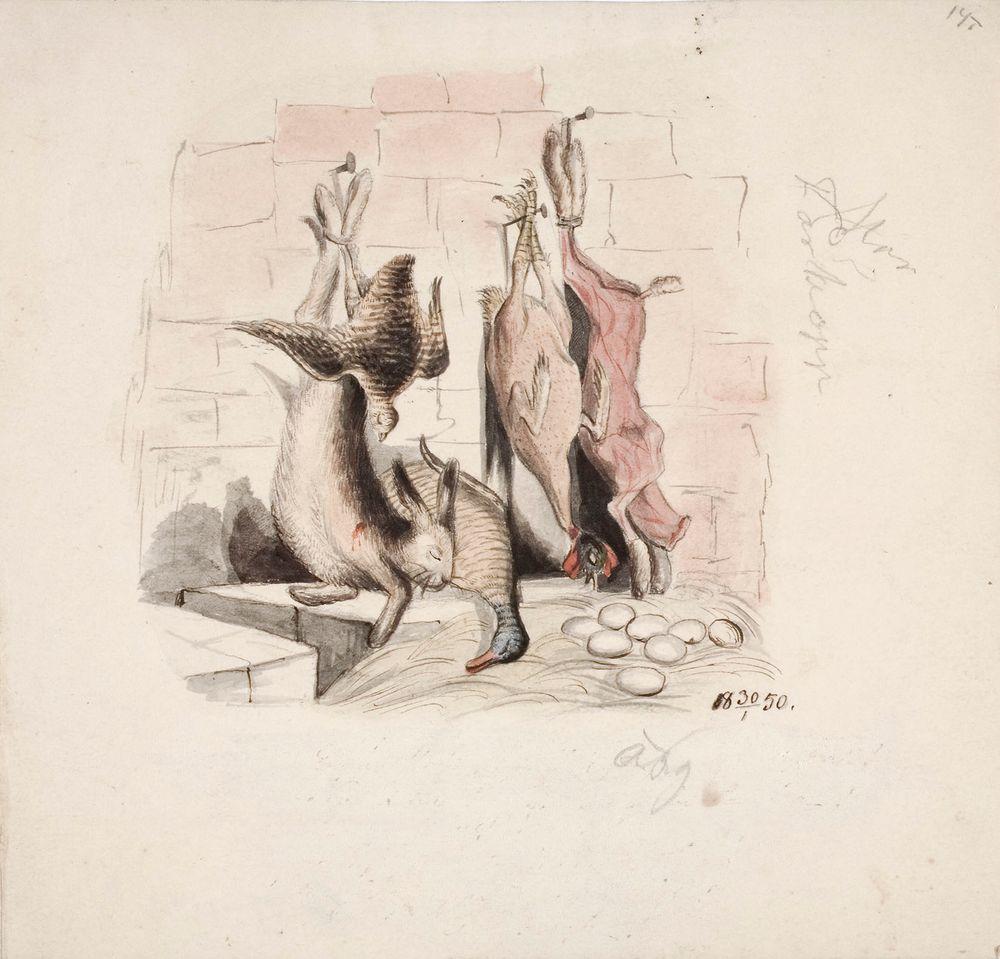 Asetelma, jossa on kuollut jänis, heinäsorsa, peltopyy, nyljetty jänis ja kana