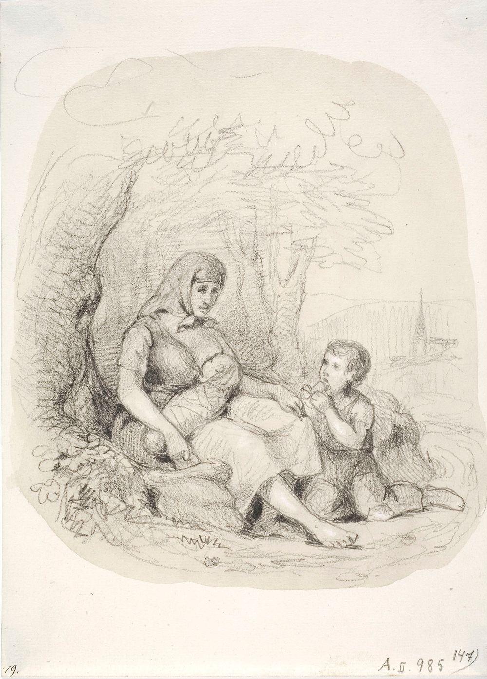 Tien vieressä istuva talonpoikaisnainen, jolla on rintalapsi ja pieni poika. Taustalla kirkko.
