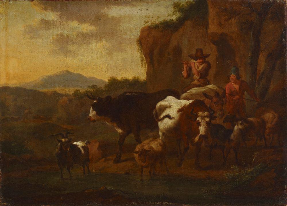 Huilua soittava paimen ja karjaa
