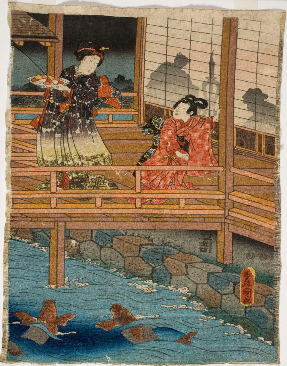 Shogunin elämää vaimojen talossa. Kohtaus Genjin tarinasta. Genji-e