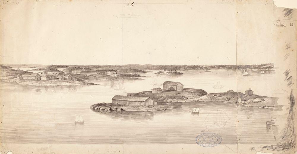 Saaristomaisema, kuvitusta teokseen Finland framställdt i teckningar, lehti nro 4