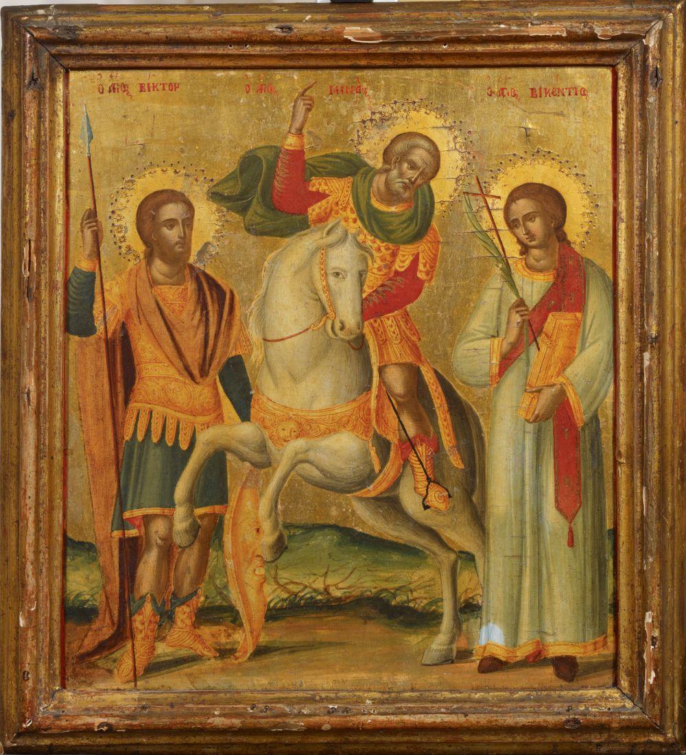 Kolme pyhimystä, Pyhä Viktor, Pyhä Menas ja Pyhä Vikentios, kreetalainen ikoni