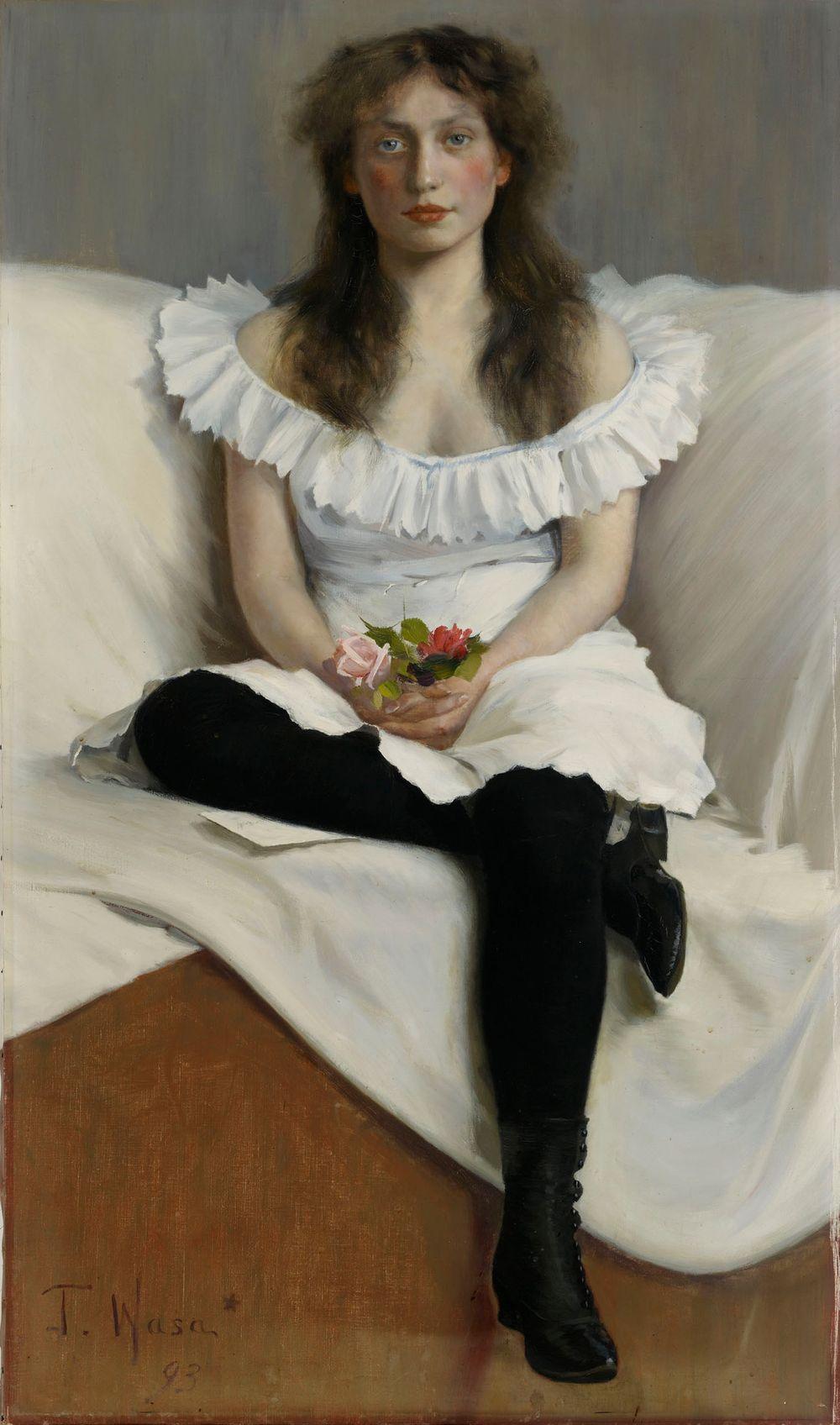 Nuoren valkopukuisen naisen muotokuva