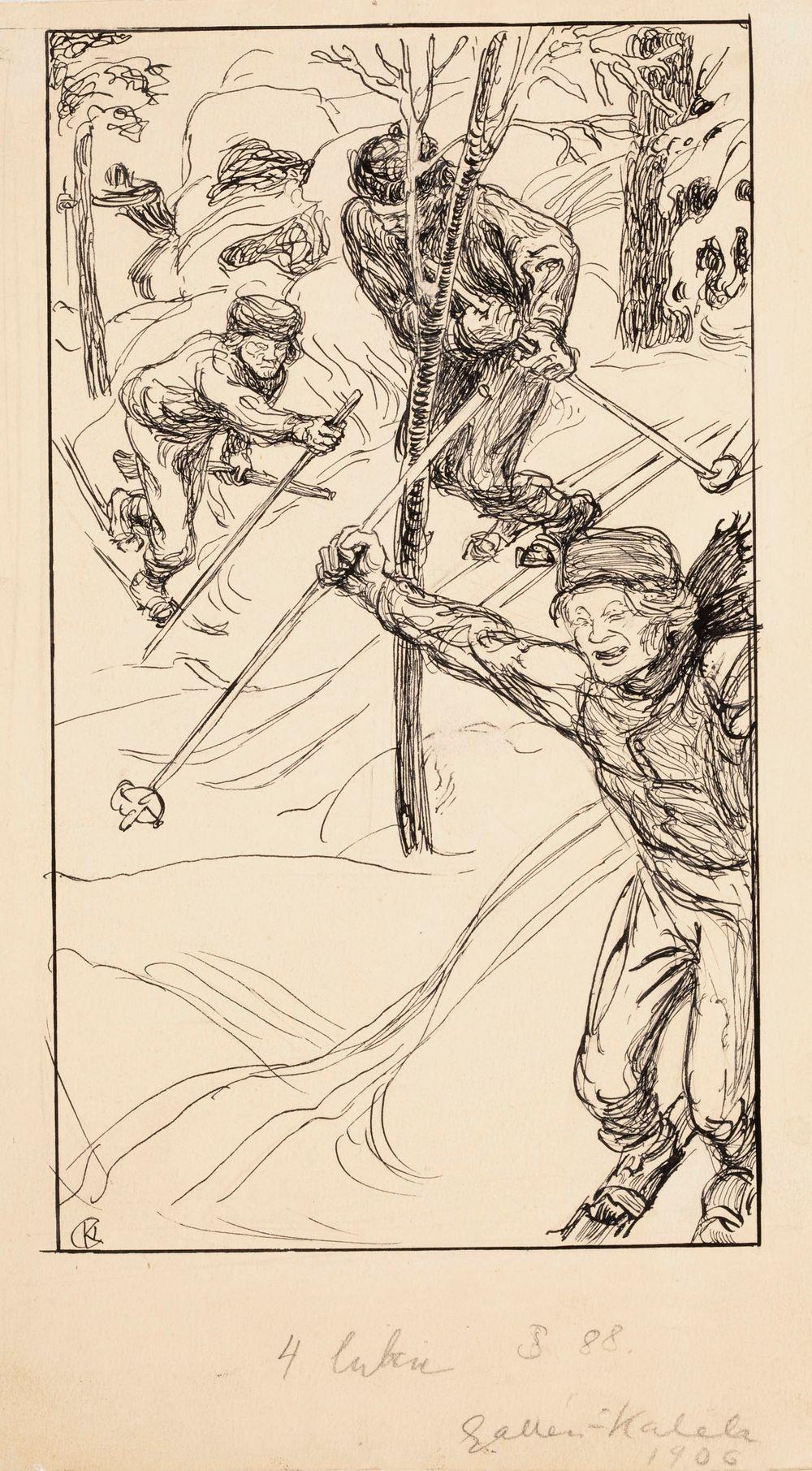 Veljekset hiihtämässä