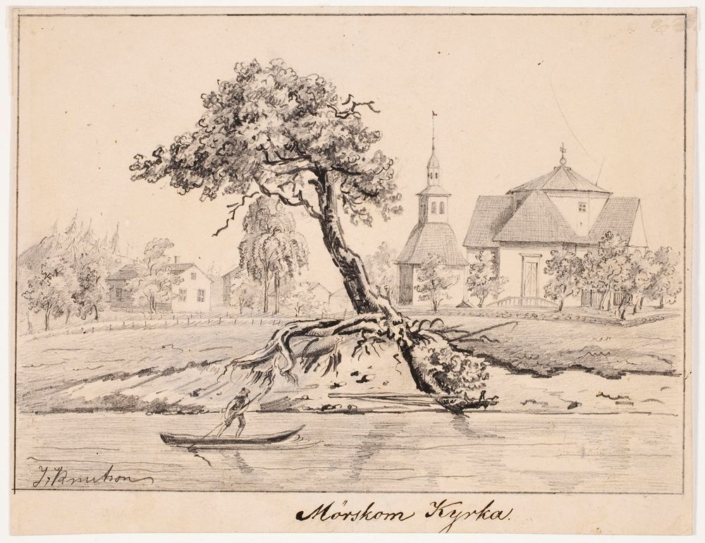 Myrskylän kirkko, originaalipiirustus teokseen Finland framställdt i teckningar