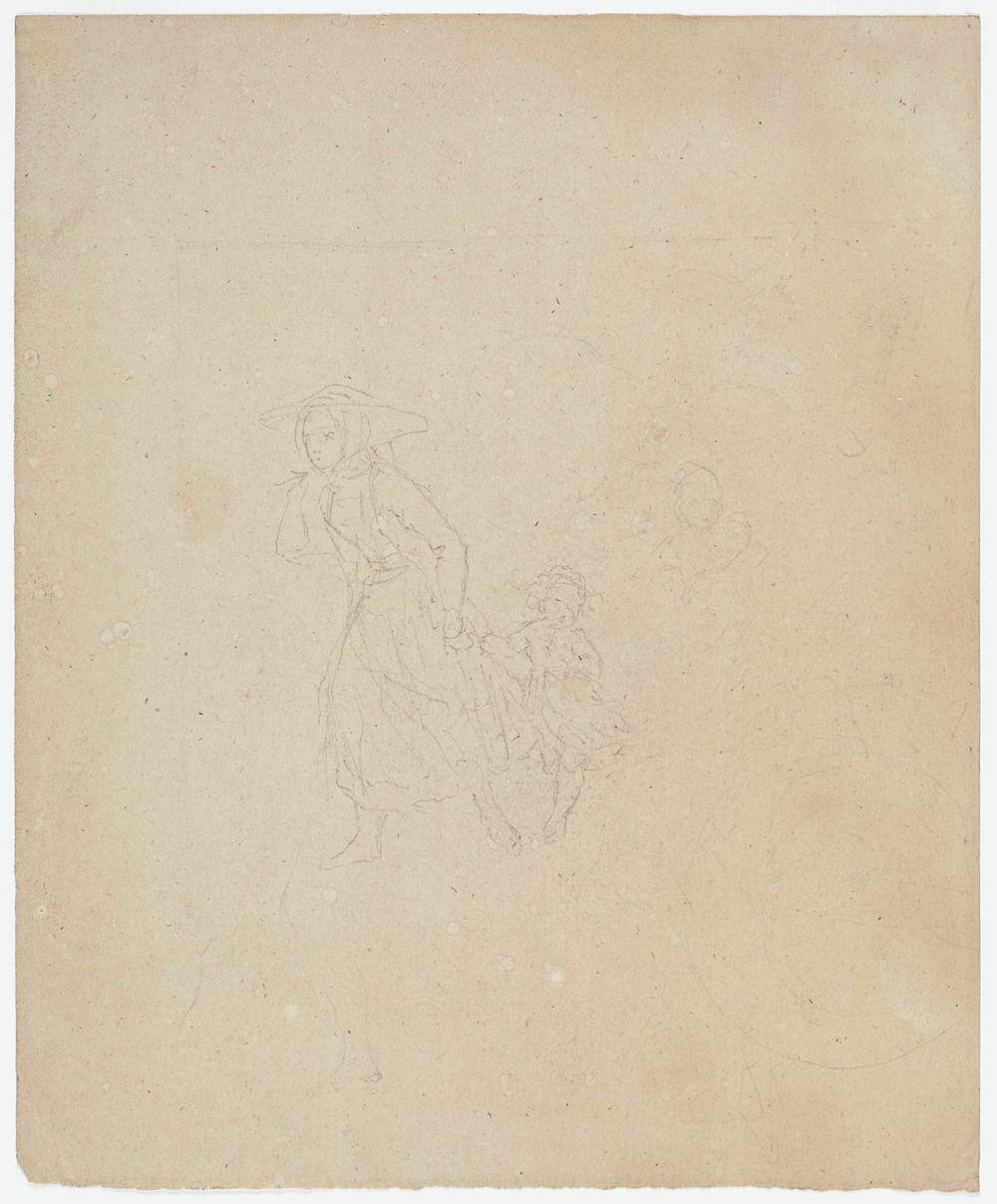 Nainen taluttamassa lasta kädestä ; Sotilas (kaksipuolinen teos)