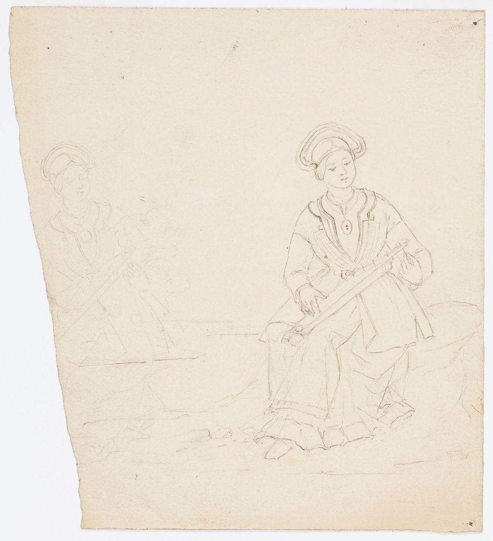 Istuva suomalainen nainen kantele polvillaan