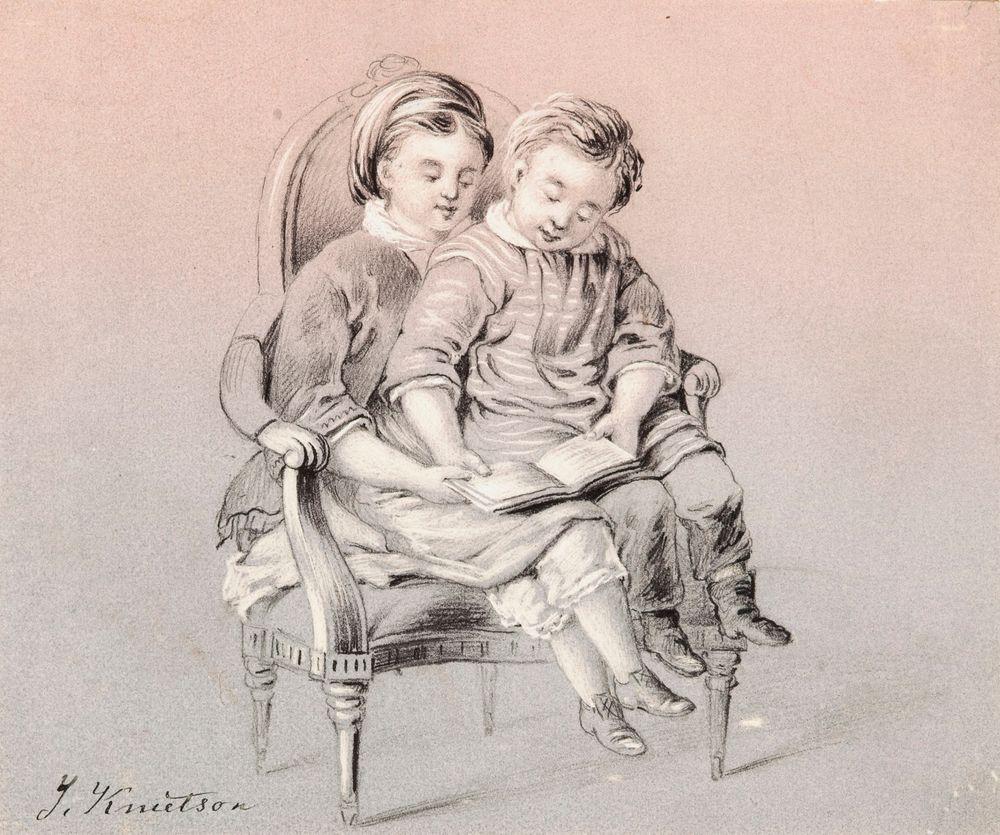 Kaksi lukevaa lasta