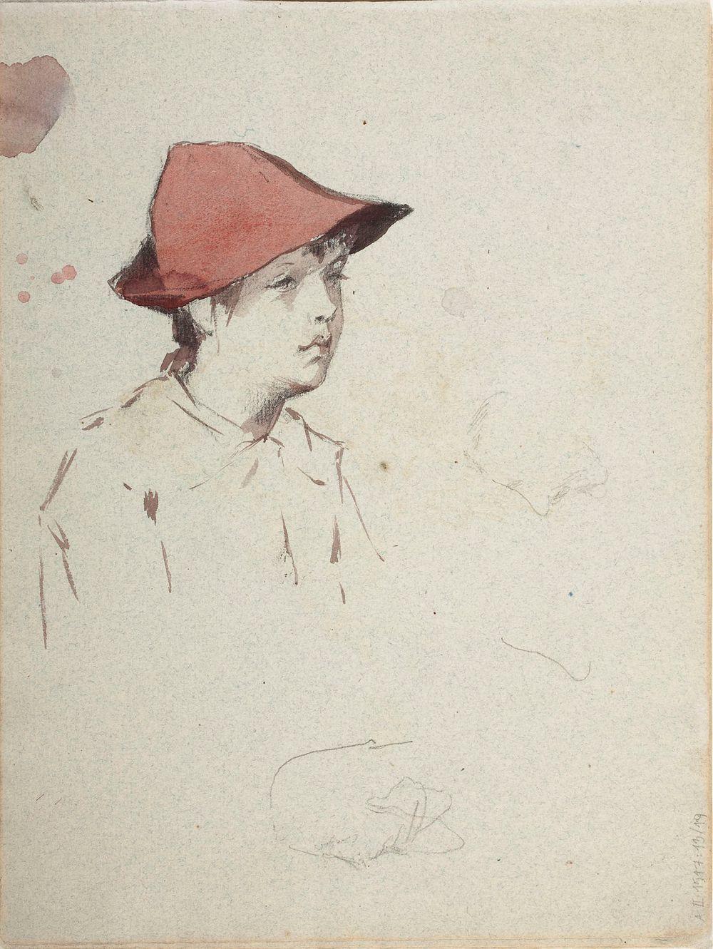 Bertta Edelfelt, taiteilijan sisar punainen hattu päässään. Mahdollisesti n. 1886.