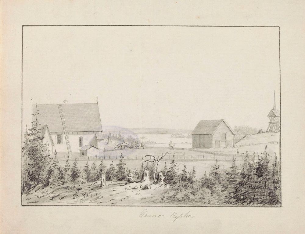 Pernajan kirkko, originaalipiirustus teokseen Finland framställdt i teckningar