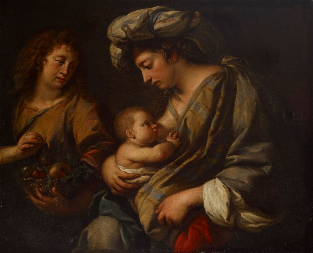 Pakomatkalla Egyptiin. Neitsyt Maria imettää Jeesus-lasta.