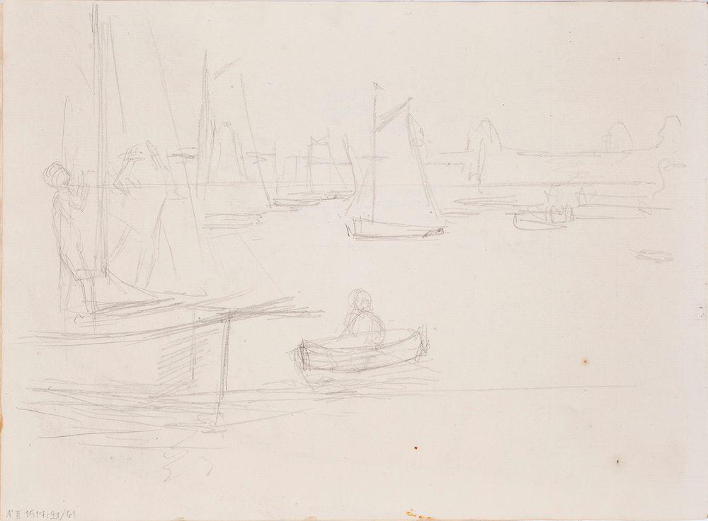 Luonnos maalaukseen Helsingin satamasta, purjeveneitä, soutuvene