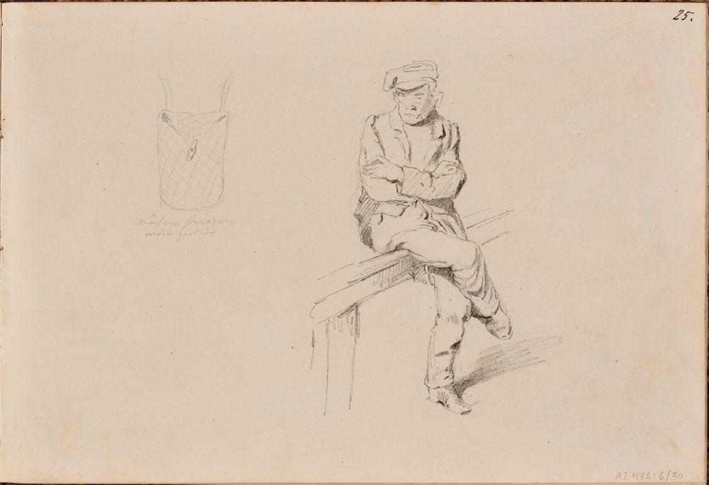 Tuohikontti ; istuva mies