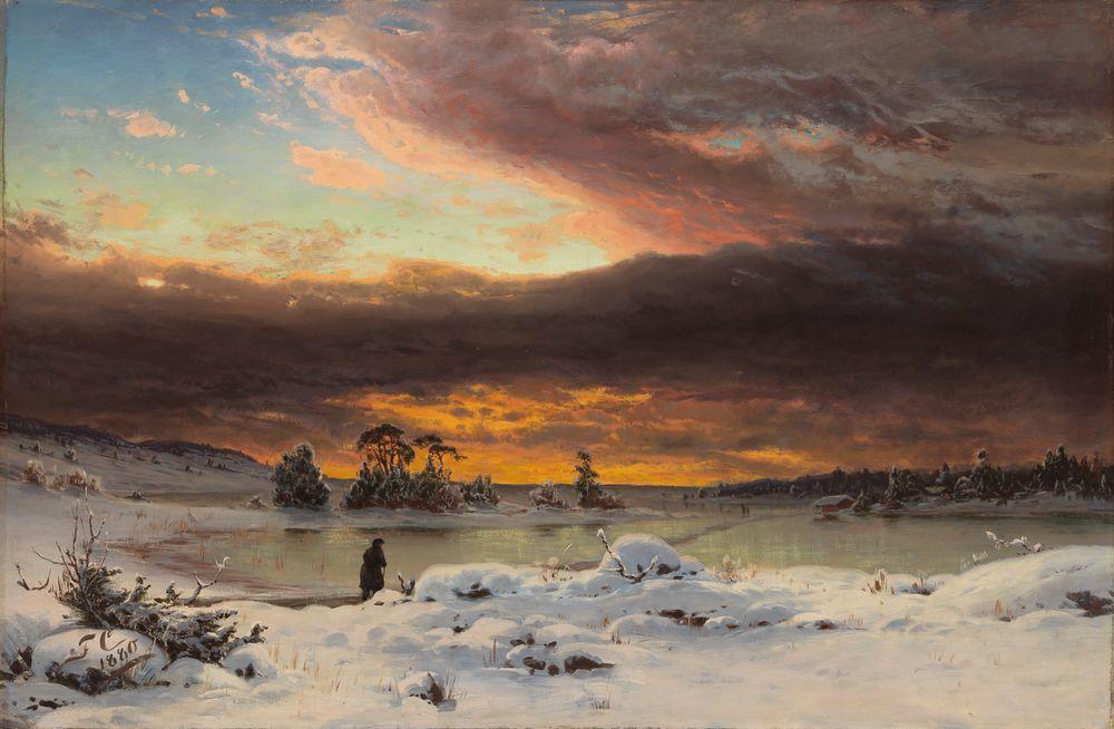 Talvimaisema, auringon mailleen mentyä