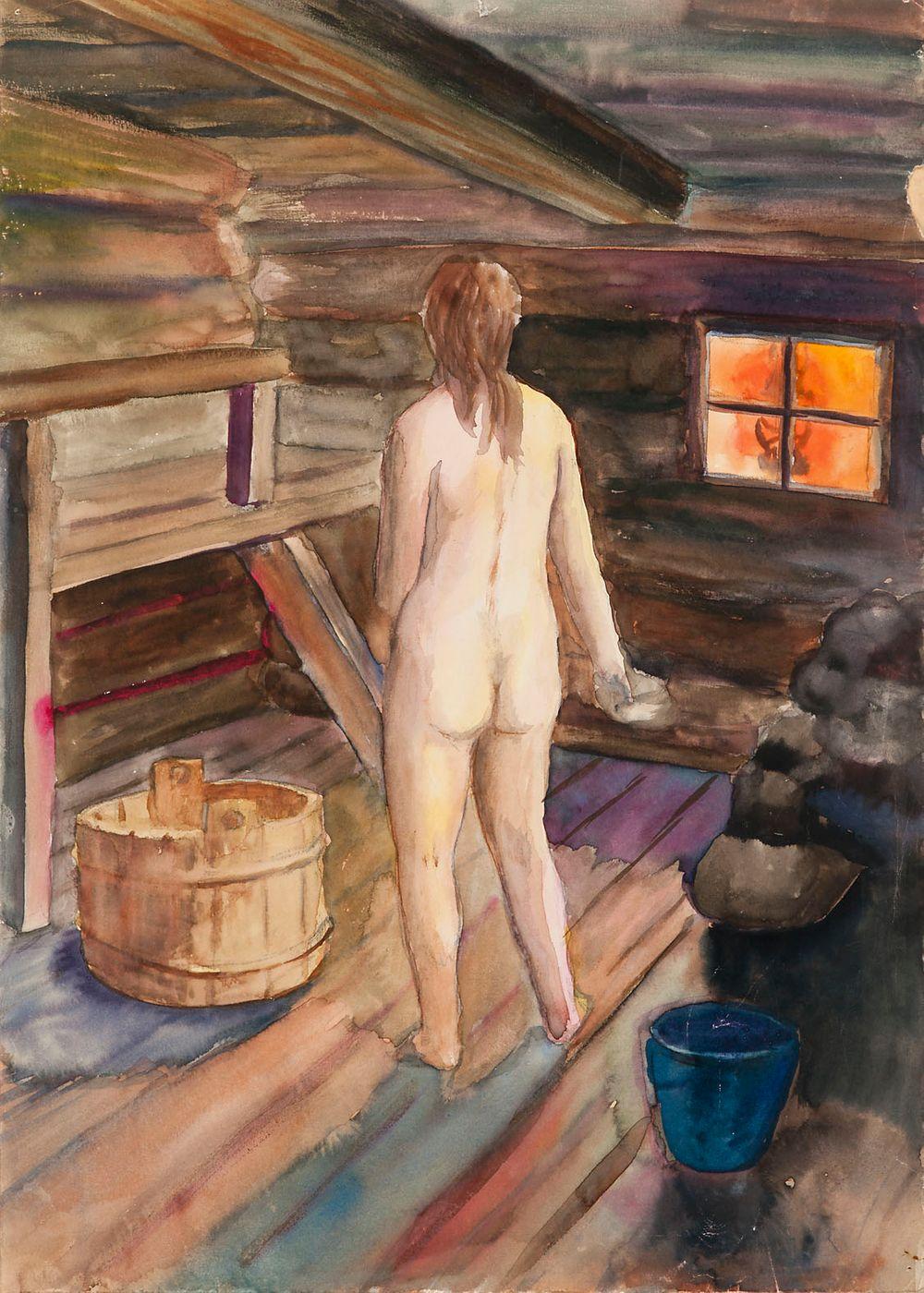 Nainen saunassa