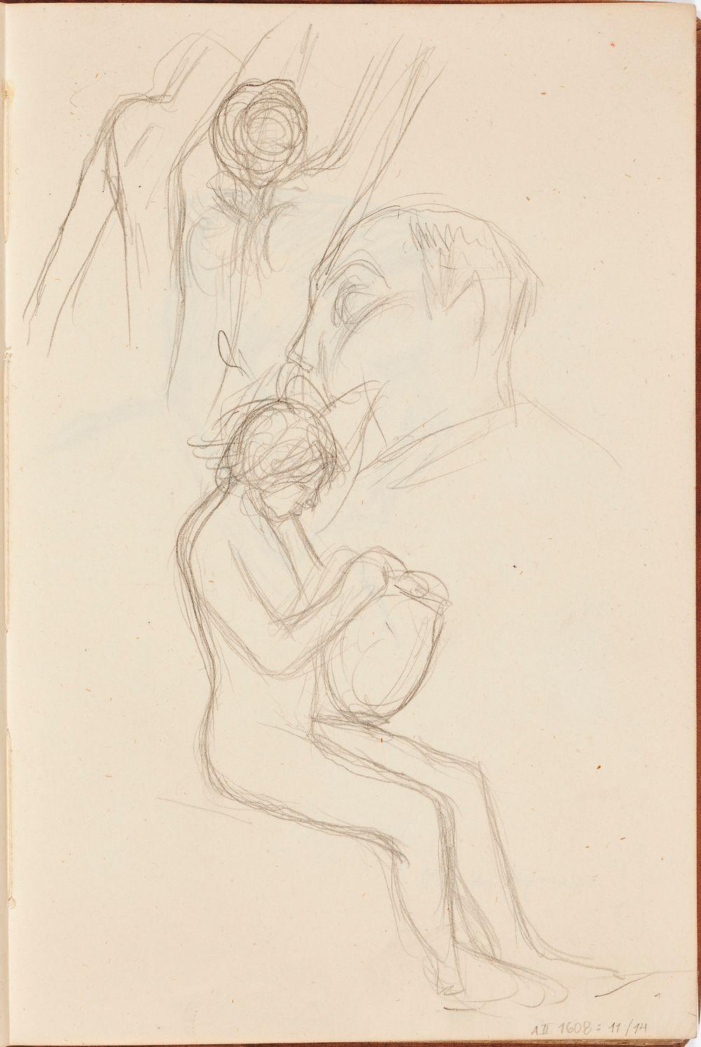 Istuva alaston ja miehen pää, luonnos