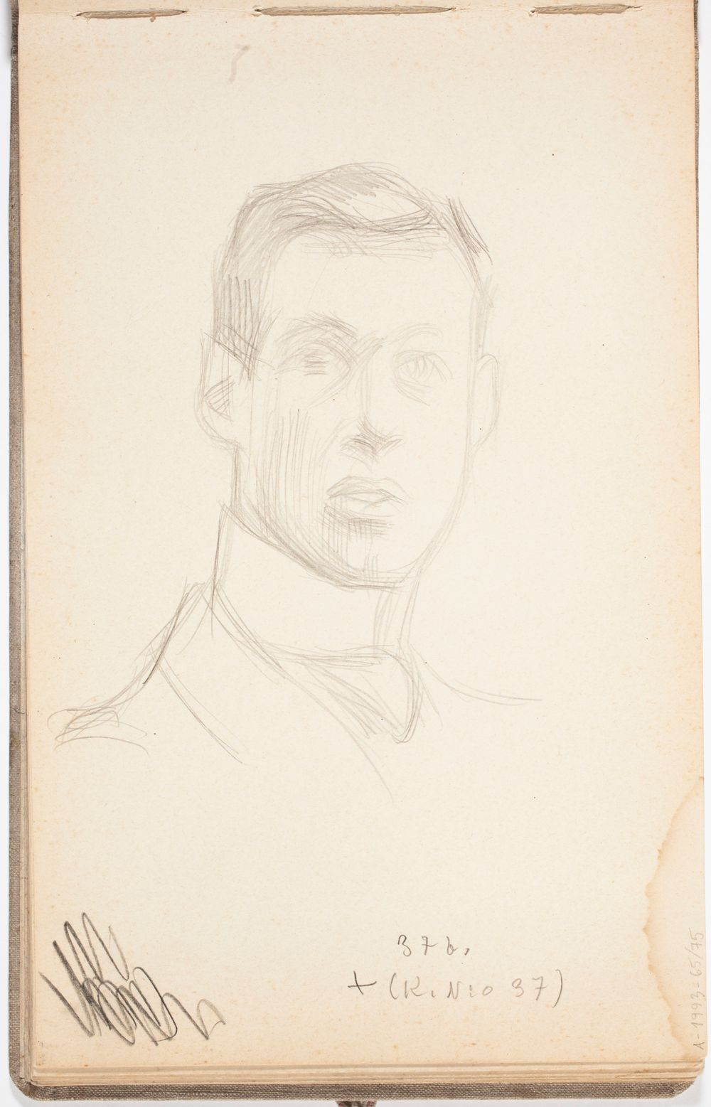Miehen muotokuvaluonnos. Todennäköisesti n. 1908-09.