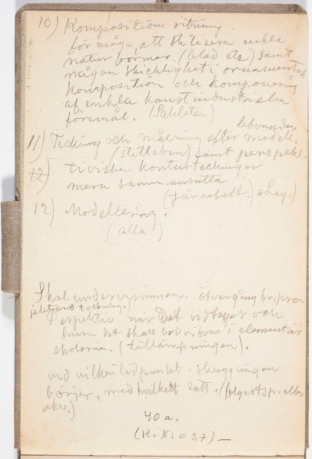 Kirjoitusta. Piirustuksen opetusohjelma tai lukujärjestys ilmeisesti Helsingin yliopiston piirustussalissa n. 1908-09.