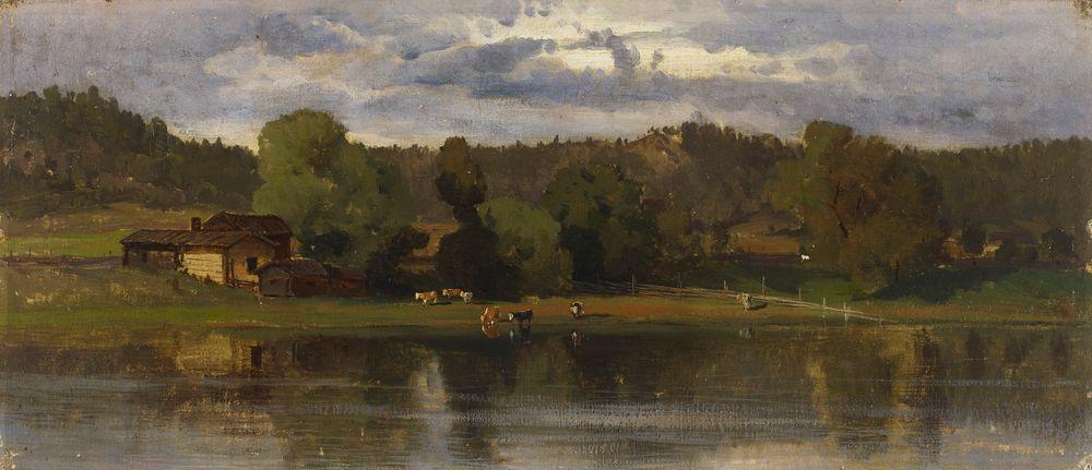 Lehmiä järvimaisemassa, iltatunnelma
