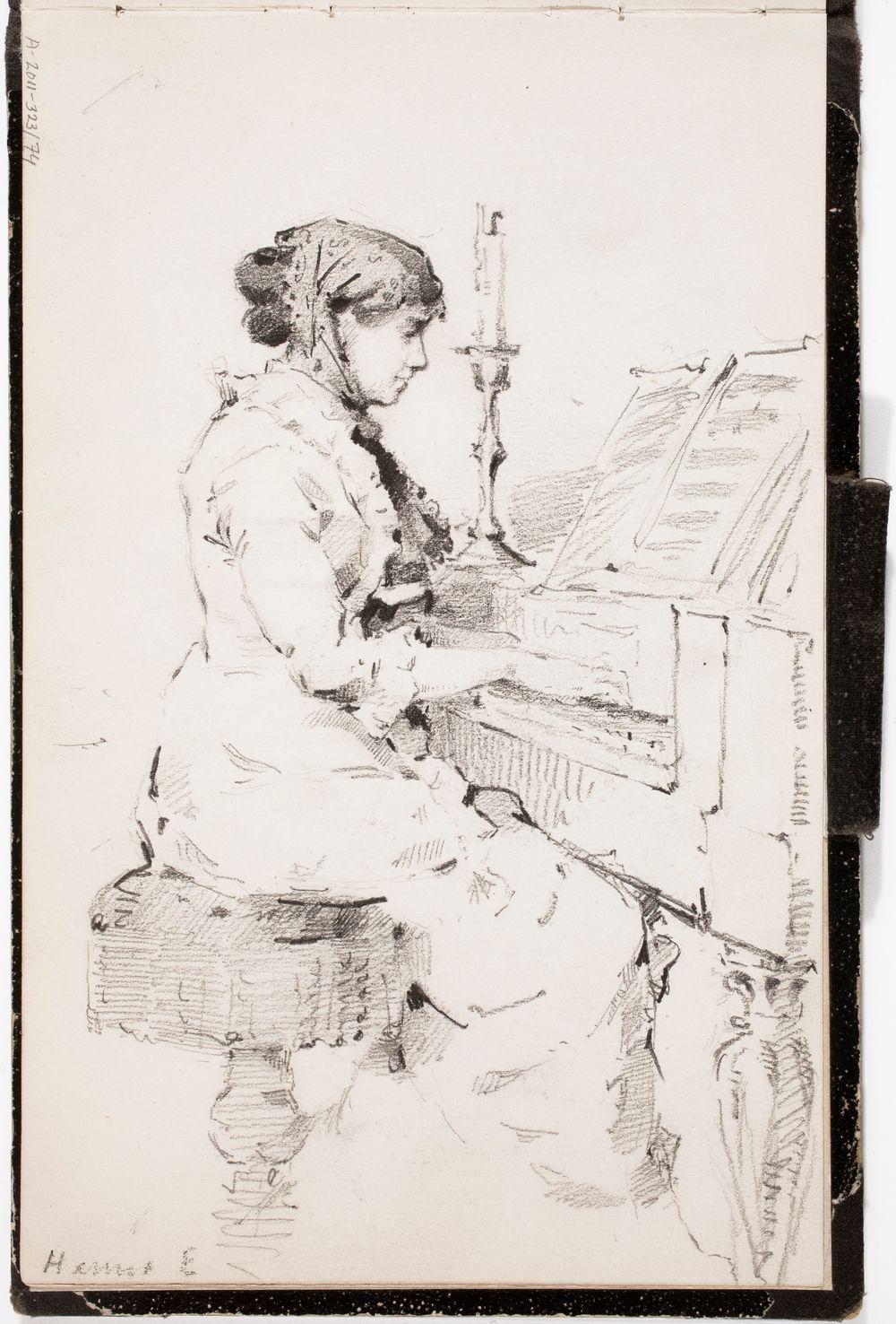 Hanna Estlander o.s. Lupander [taiteilijan serkku] soittaa pianoa, merkitty: Hanna E
