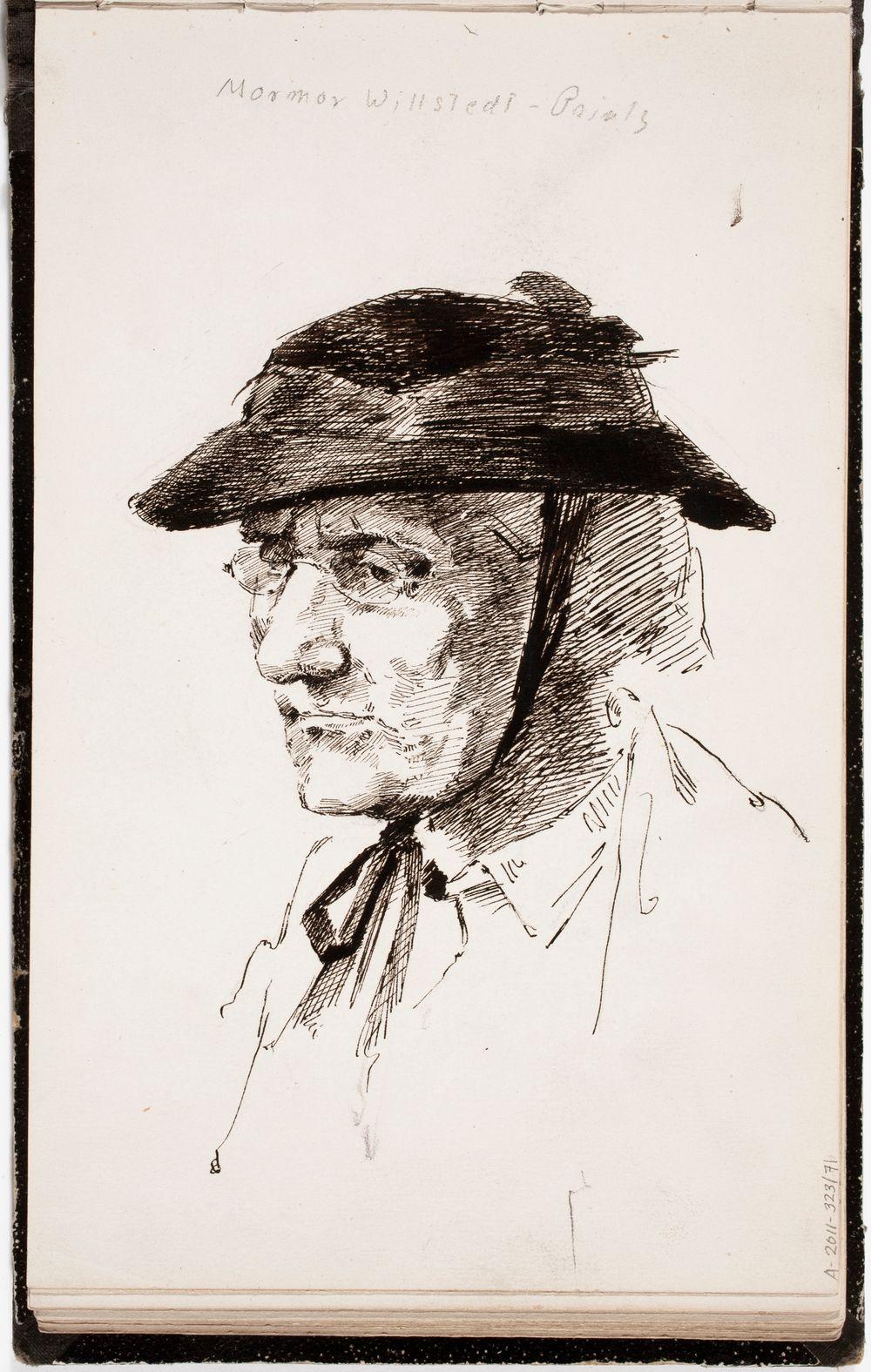 Taiteilijan äidinäiti Sofia Printz, rintakuva. Merkitty: mormor Willstedt - Printz