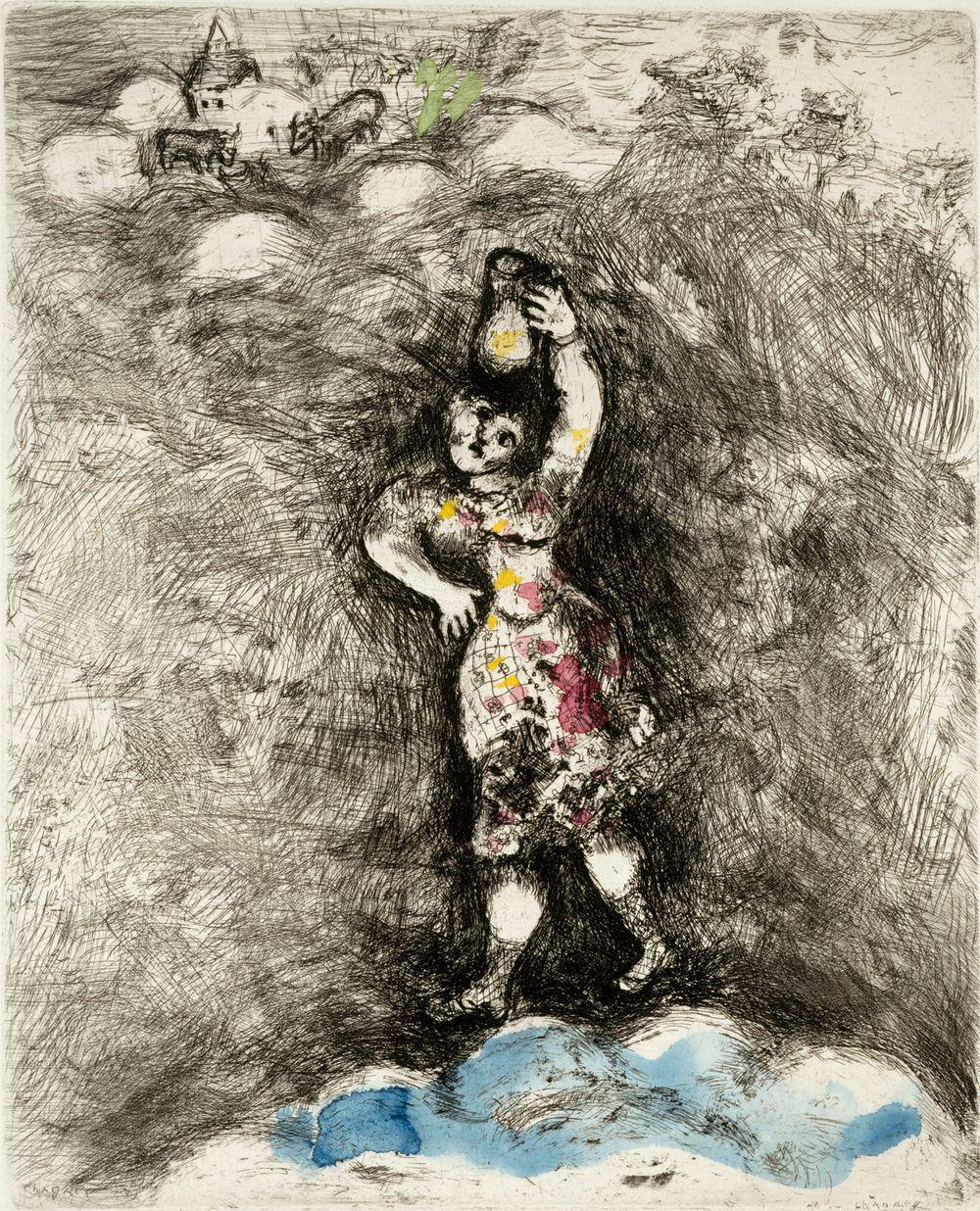Maitotyttö.  Kuvitusta La Fontainen Faabeleihin, sarja nro 74
