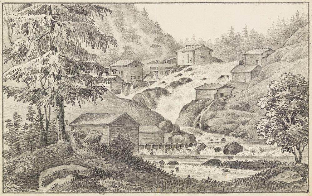 Kyröskoski, originaalipiirustus teokseen Finland framställdt i teckningar