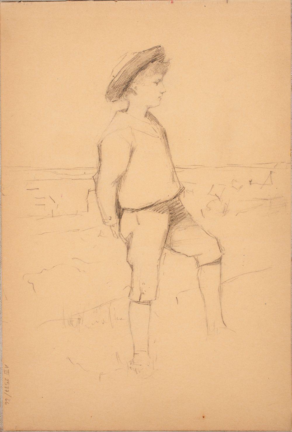 Polvihousuinen sivuttain seisova poika