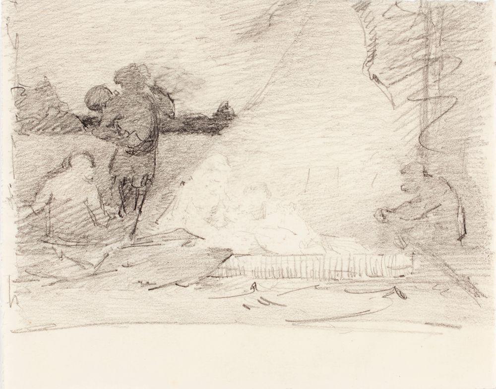 Kuvitusta kirjaan Finska Folksagor, Berättade af Rafaël Hertzberg, satu Jungfrun, som steg ur hafvet, luonnos sivun 69 kuvitukseen