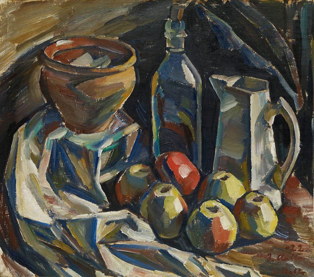 Asetelma, kannu, ruukku, pullo ja omenoita