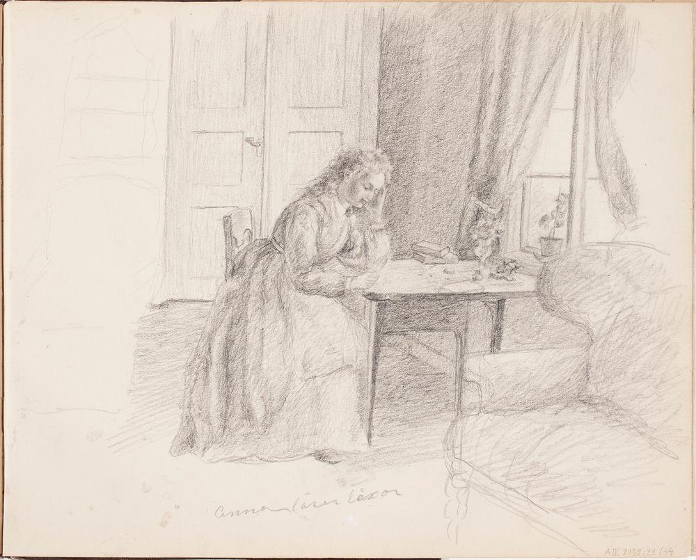 Interiööri, taiteilijan sisar Anna lukemassa läksyjään. Merkitty: Anna läser läxor
