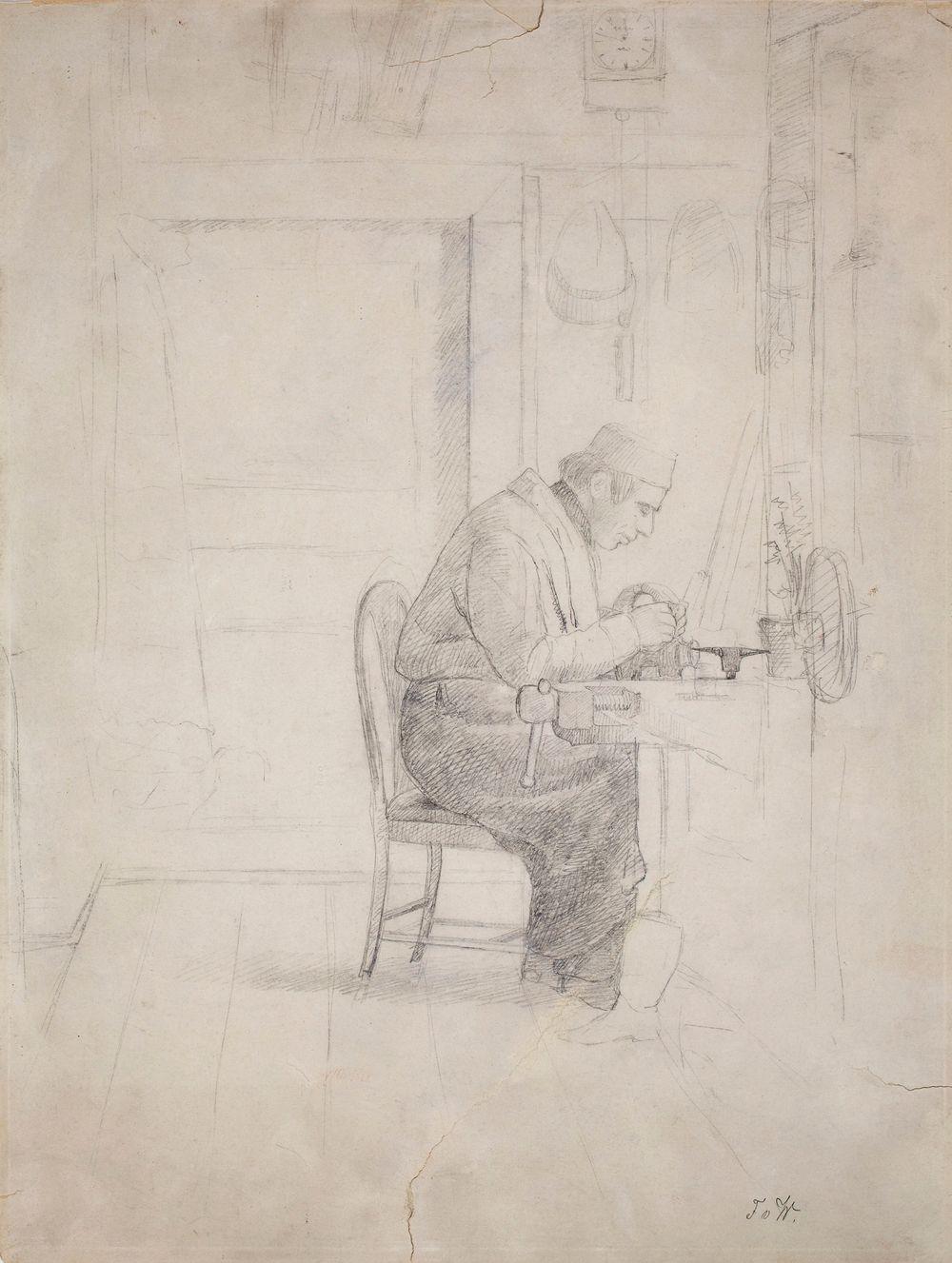 """Wilhelm von Wright höyläpenkin ääressä, piirustus """"Mariebergin verstas"""" -maalausta varten"""