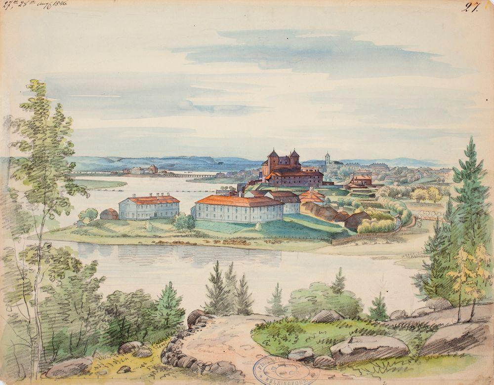 Hämeenlinna, näkymä kuvitukseen teoksessa Finland framställdt i teckningar